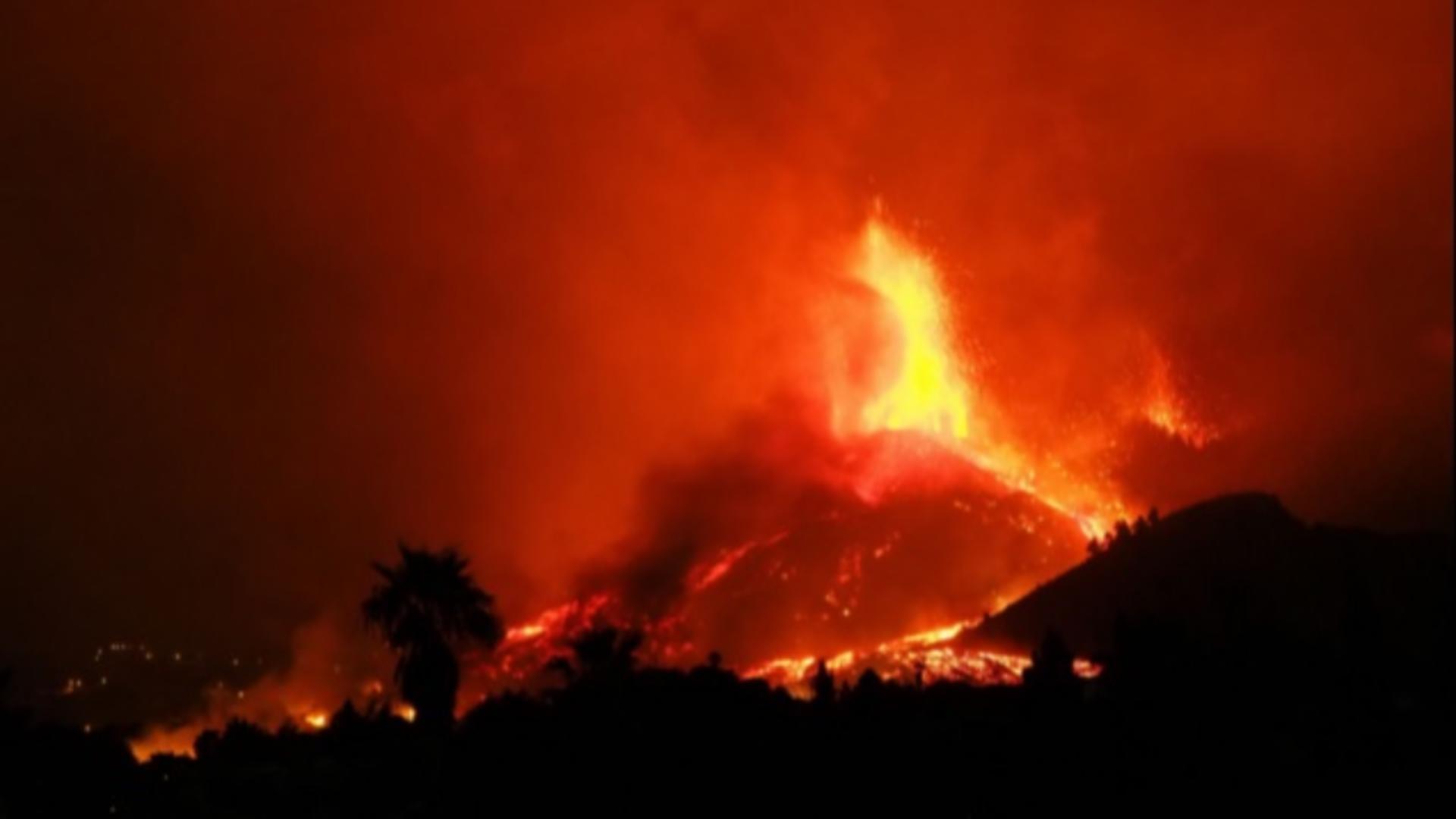 Erupția vulcanului din insula spaniolă La Palma
