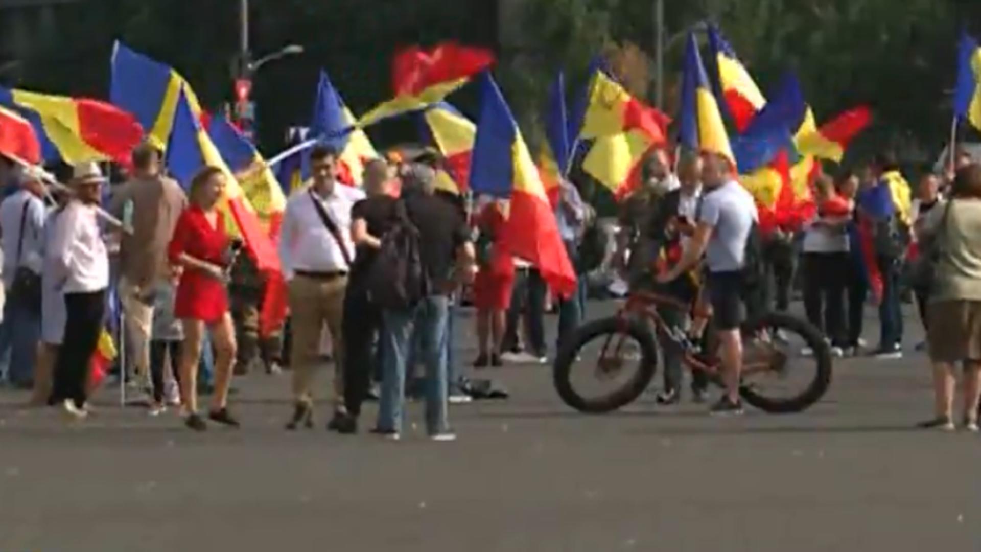 Protest Piața Victoriei. Foto: captura Realitatea Plus