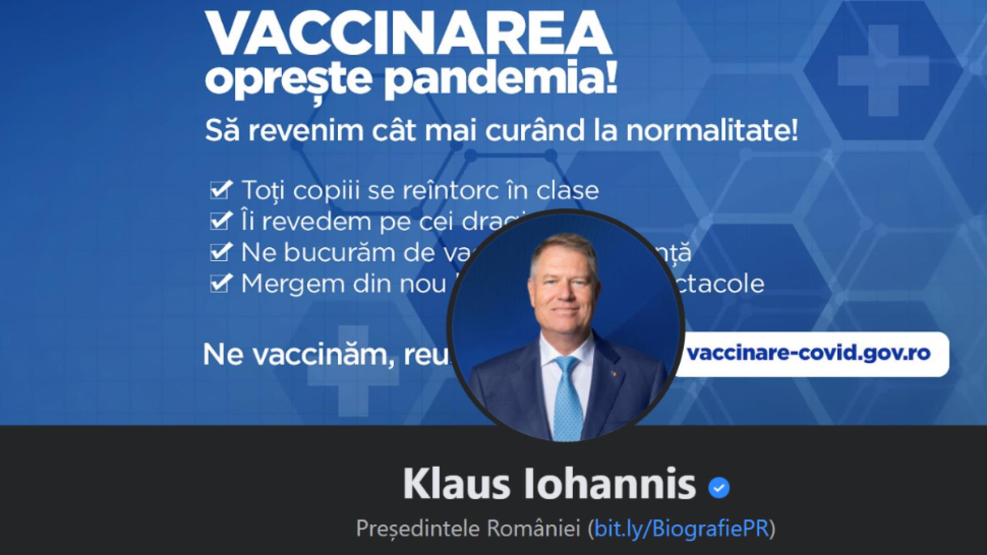 Pagina de FB a președintelui Klaus Iohannis