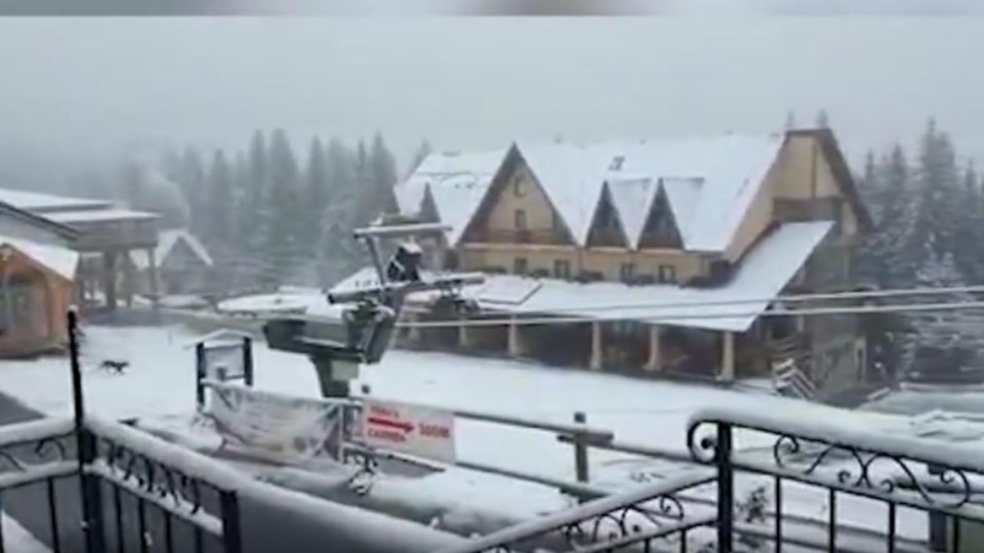 VIDEO | Temperaturi scăzute în întreaga țară. La munte zăpada s-a depus într-un strat consistent