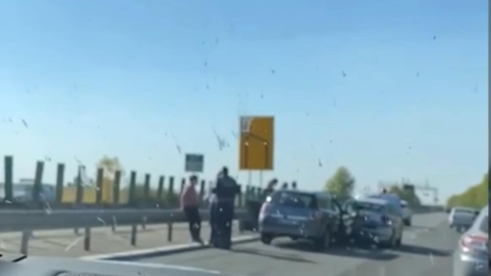 Accident pe Autostrada Soarelui. Foto: captură Realitatea Plus
